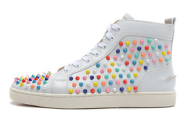 Wholesale Colorful Mens High Top Shoes - Mens & Womens Casual Shoes with Spikes Rhinestone Red Bottom Multi Colorful high top Lace-up Unisex Luxury New Flats Sneaker Fashion Design