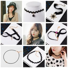 Wholesale Tattoo Neck Chokers - Hot sale Tattoo Lace Neck Strap Collar Short Striped Chain Punk Gothic Necklace WFN265 (with chain) mix order 20 pieces a lot