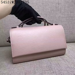 Wholesale Light Blue Satchel - Europe Original quality shoulder Crossbody pure color waves top cow leather women casual bags or cosmestic bags 23cm wide