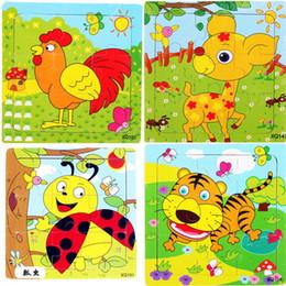 Wholesale Elephant Puzzle - Educational Toys Wood Alphabet Number Animal Fruit Elephant Lion Sheep Bus Vehicles Puzzle Birthday Gift Early Learning 1 2zn G1