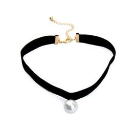 Collana girocollo in morbido nastrino nero stile semplice elegante della nuova design da donna con perla bianca spedizione gratuita da