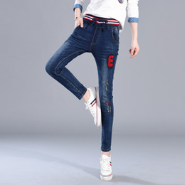 Wholesale Korean Women S Jeans - New Spring Of 2017 Korean Version Jeans Of The New Elastic Lace Jeans Women Slim Pants Feet Embroidery Pants