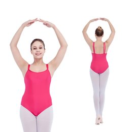 Wholesale Spandex Leotard Kids - Ballet Kids Dancing Leotards Nylon Lycra Double Straps Camisole Drawstring Front for Girls Gymnastics Full Sizes 21 Colors Available