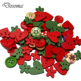 Wholesale Handmade Wooden Buttons - Wholesale- Colorful Red&Green Christmas Series Wooden Buttons Sticker Accessories Wooden Buttons Children's Preschool Handmade DIY Toys