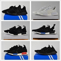 Wholesale 2017 Discount Cheap NMD Runner Primeknit White Red Blue NMD Runner Sports Shoes Men Woman High Quality NMD Running Boost With Box