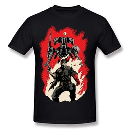 Wholesale Robot Painting - Hellboss Tee Shirts For Men Gunman Robot Warrior cool painting man short sleeve tee shirts casual style