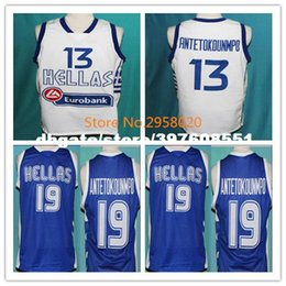Wholesale Cheap Custom Team Jerseys - Cheap custom GIANNIS ANTETOKOUNMPO #13 TEAM GREECE Basketball JERSEY WHITE BLUE Embroidery Stitched Custom any Number and name Jerseys