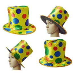 Wholesale Halloween Magician Hat - Clown Hat Magician High Hat Halloween Color Dot Party Performance Show Props Acrobatic Caps Carnival Funny Costume Ball Funny