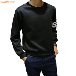 Wholesale Wholesale Men S Sweatshirts - Wholesale-Japan Style Autumn Striped Uniform Men Casual Hip Hop Hoodies O Neck Long Sleeve Hoodie Fashion Sweatshirts