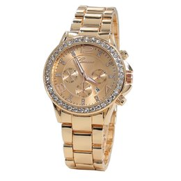 Wholesale Rose Gold Ladies Geneva Watch - hot sale Quartz watches fashion designer metal alloy rose gold Geneva Calendar vogue lady woman men diamond watches