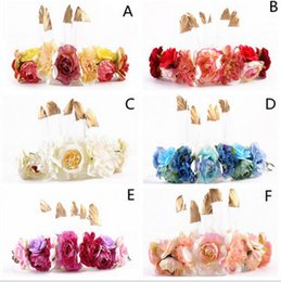 Wholesale Orchid Accessories - Bohemia bride garlands womens golden feather flowers headdress tourism photography hair accessories garlands orchid headband T0308