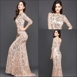 Wholesale Stock Mothers Dresses - Rose Gold Sequins 2018 New Evening Dresses Long Sleeve Cheap Formal Mother Dresses In Stock Vestido De Soiree CPS634
