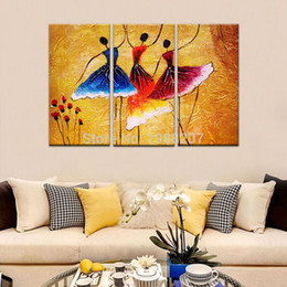 Wholesale Dancing Pictured Canvas - 3 Panles Abstract Spanish Dance Oil Paintings Printed on Canvas Abstract Dancer Painting Wall Art For Home Modern Decor Wooden Framed