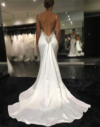 Wholesale Low Price Sexy Wedding Dresses - Sexy Design mermaid Backless Wedding Dresses Spaghetti Straps Ivory Elastic Crystal Beaded Low Price Cheap Bridal Wedding Gowns