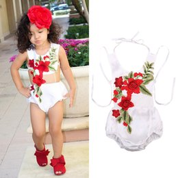 Wholesale Summer Infant Sale - Baby Clothing Summer Girl Flower Romper Sleeveless Embroidery Pattern Ins Hot Sale Western Style Infant Jumpsuits