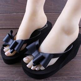 Wholesale Platform Thongs Flip Flops - Wholesale- hot sale Flip Flops High-heeled Slippers Women's Summer Beach Platform Thong Wedge Sandals Bowknot Shoes 5 COLORS