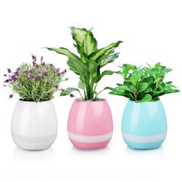 Wholesale Decorative Music Light - Leadka Mini Smart Flowerpot Sensor Bluetooth Speaker Flower Pot With LED Light Plastic Green Plant Pots Decorative Pot Playing Smart Music