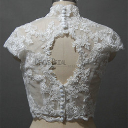 Wholesale short sleeve bolero lace black - 2017 Bridal Wedding Jacket with Keyhole Back High collar V-neck Capped Sleeve Lace Appliques Handmade Flowers Pearls Buttons Wedding Bolero