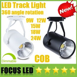 Wholesale 12w Led Track Light - Led Track Light CREE 9W 12W 15W 18W 24W Dimmable COB LED Downlights CRI>88 Fixture Ceiling Spot Lights Lamp+ Driver Warm Cool Natural White