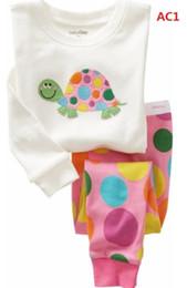 Wholesale Girls Cotton Pyjamas Sets - Free shipping Cotton cartoon Kids tortoise Pajama Sets Clothes girl sleepwear pyjamas