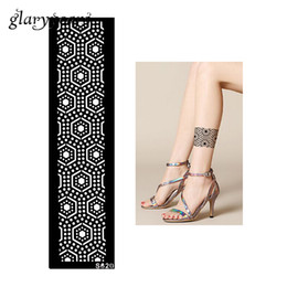 Wholesale Tattoo Pieces Arm - Wholesale-1 Piece Hollow Henna Tattoo Stencil Women Arm Leg Body Art Strip Bracelet Pattern Design Health Tattoo Stencil Summer Style S620