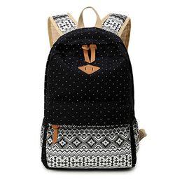 Wholesale Cute Rucksacks - Wholesale- SUNBORLS Brand Canvas Printing Backpack Women Cute School Backpacks for Teenage Girls Vintage Laptop Bag Rucksack Bagpack Female