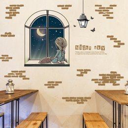 Wholesale Self Adhesive Wallpaper Bricks - Cartoon Girl Enjoy Moon Star Out of Window Wall Stickers Home Decor Wallpaper Poster Night Sky Scenery Wall Mural Poster Fake Brick Graphic