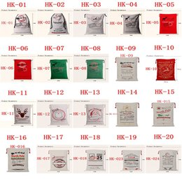 Wholesale Cotton Christmas Decorations - hot sale Christmas Large Canvas Monogrammable Santa Claus Drawstring Bag With Reindeers, Monogramable Christmas Gifts Sack Bags 155661