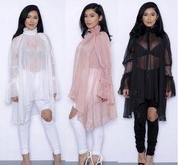 Wholesale Women Lace Ruffle Blouses - Women Blouse Long Ruffles Sleeve Blusas Shirts ladies Plus Size Tops Chiffon sunscreen Beach bikini blouse Loose lace dress