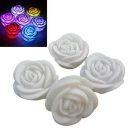 Wholesale Purple Flameless Candles - New Romantic Changing LED Floating Rose Flower Candle Night Light Wedding Decoration 600PCS LOT