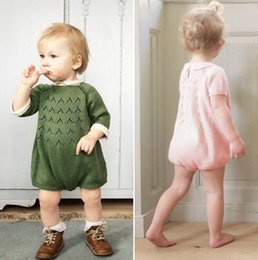 Wholesale Kids Short Sleeve Sweater - INS hot cute babys knitting sweater rompers infant boys gilrs spring autumn knit jumpsuits kids clothing for 80-120cm