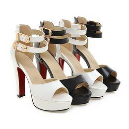Wholesale Size 32 Sandals - Fashion Women High Heels 2017 Sexy Women Pumps Peep Toe Platform Sandals Prom Nightclub Party Shoes 32-42 Size Wedding Dress Shoes Sandals
