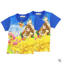 Wholesale Cartoon T Shirts For Kids - Cartoon Belle Princess T-shirts 2017 Summer Fashion Kids Clothes Beauty and the Beast Tops for Kids Baby Clothes Girls Belle Costume 244