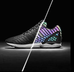 Wholesale Shoes Zx - Retail ZX FLUX XENO The chameleon men's and women's shoes Boost Reflective Black Snake shoes sneakers on sale Sport Shoes Sneakers 36-45