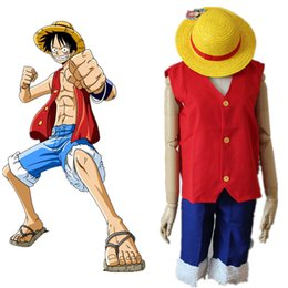 Wholesale Costumes D Halloween - Monkey D. Luffy cosplay costumes Japanese anime ONE PIECE clothing Halloween Masquerade Mardi Gras Carnival costumes
