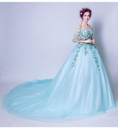 Wholesale Half Sleeved Long Prom Dress - SSYFashion 2017 Summer Fresh Evening Dress Exquisite Lace Embroidery Half-sleeved Long Train Light Green Banquet Prom Party Gowns