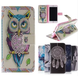 Wholesale Drawing Pattern Case - Fashion Coloured Drawing Pattern Magnetic Stand Holder Side Flip PU Leather Wallet Cover for Iphone 6 6s plus 7 7 plus Samsung S6 S7 Edge