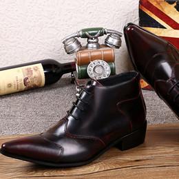 Wholesale Boot Shoe Brush - Wholesale- Personalized High Top Men Business Leisure Leather Shoes Fashion Designer Lace Up Brush Colors Men Short Ankle Boot Martin Shoes