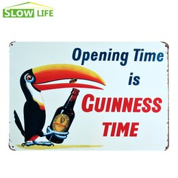 Wholesale Guinness Pub Sign - Guinness Time Black Beer Tin Sign Bar Pub Hotel Wall Decor Metal Sign Vintage Home Decor Metal Plaque Retro Painting Art Poster 20170408#
