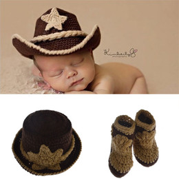 Wholesale Handmade Baby Cowboy Hat - Baby Knitted Hat Handmade Crochet Hat Cowboy Infant Photography Set Newborn Baby Pictures Baby Hat Crochet Wild Children Photo Props