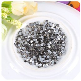 Wholesale Diamonds Hotfix - High Quality SS3-SS30 Crystal Black Diamond Non Hotfix Flatback Rhinestones Nail Rhinestoens For Nails 3D Nail Art Decoration Gems