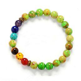 Wholesale India Men Bracelet - Wholesale- India Yoga Energy Natural Stone Agate Beads Men 7 Chakra Healing Balance Bracelet Charm Bracelets & Bangles for Women Jewelry