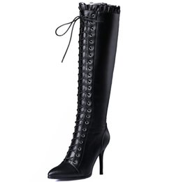 Wholesale High Boots Heels Thigh Zipper - Wholesale- women winter boots high heel shoes woman 2015 fashion cross strap lace up zipper thigh knee high black long real leather boots