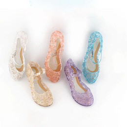 Wholesale Princess Shoes - New kids Shoes Girl Princess Shoes Blue Crystal Sandals Girls Cosplay Shoes Blue PVC Hole Snowflake Sandal kids
