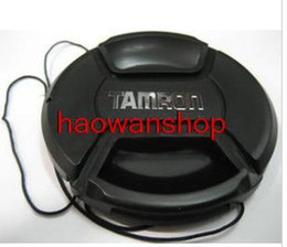 Wholesale Lens Cap Snap - Wholesale-52 55 58 62 67 72 77 mm Center Pinch Snap-on Front Lens Cap Hood Cover for tamron with Strap