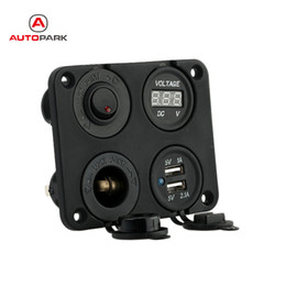 Wholesale Motorcycle Switch Off Button - Wholesale- Four Hole Dual USB Socket + Panel Base + Voltmeter Meter + Power Socket ON-OFF Button Switches for Car Truck Motorcycle Boat ATV