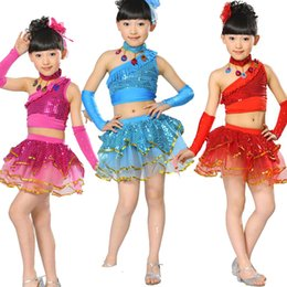 Wholesale Latin Dance Skirts Wholesale - children's Latin Ballet Dance Dress Girls Rumba Tango Jazz Hip Hop costume competition clothing ballroom performances Stage Wear