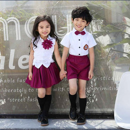 Wholesale Child Boys Dresses - 2017 New Kids School Uniform Dress Set Children Boy Sets Shirt Girls Brooch Shirt+purple Skirt Boys Bow Shirts+purple Short Pants K8225
