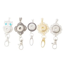 Wholesale snap boy - gold plated owl Noosa chunk keychains alloy snap button keychain women DIY key rings