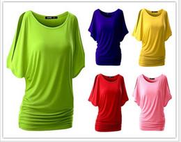 Wholesale Round Bats Shirts - European and American women sexy round neck bat short sleeve T shirt shirt
